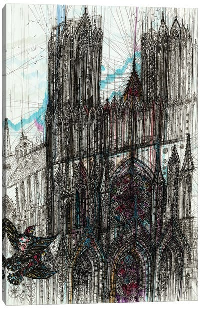 Reims Cathedral Canvas Art Print