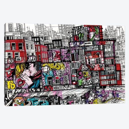 New York.Urban Graffiti Canvas Print #SSR49} by Maria Susarenko Canvas Art