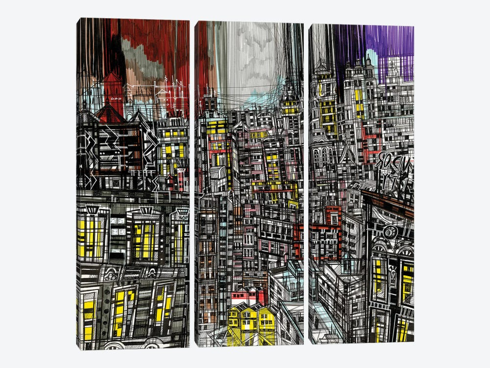 Night Lights by Maria Susarenko 3-piece Canvas Print