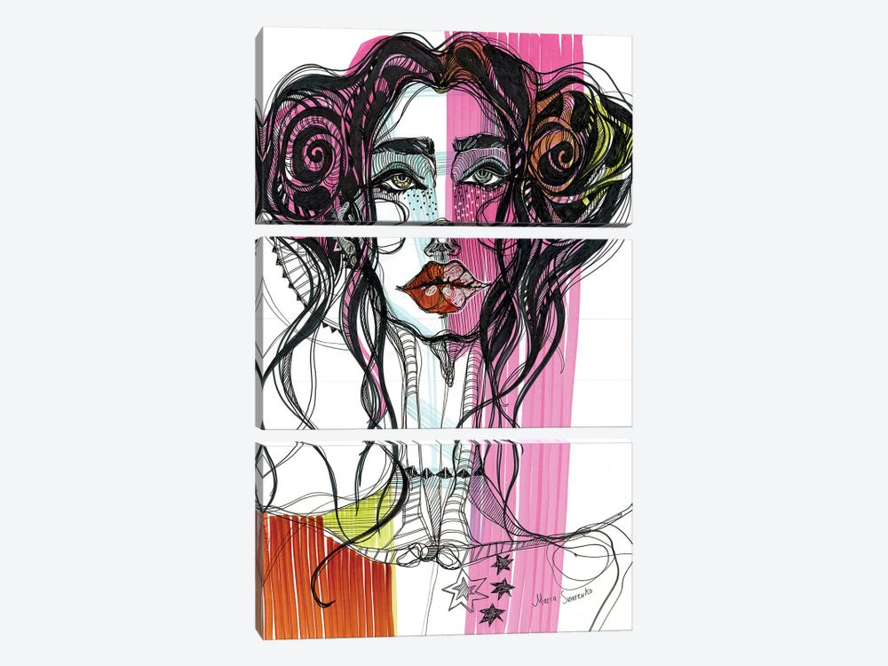 Pink Girl II 3-piece Canvas Wall Art