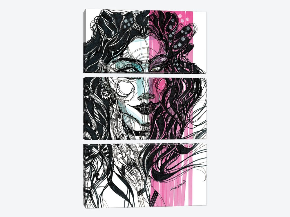 Pink Girl III 3-piece Canvas Print