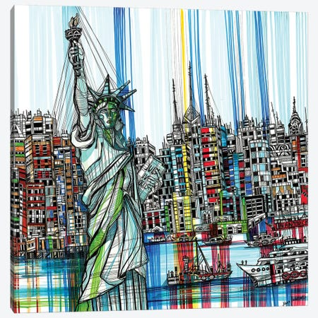Statue Of Liberty Canvas Print #SSR80} by Maria Susarenko Canvas Wall Art