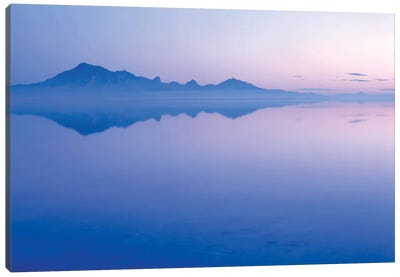 Silver Island Range And Its Reflection At Dawn, Bonneville Salt Flats, Tooele County, Utah, USA Canvas Art Print