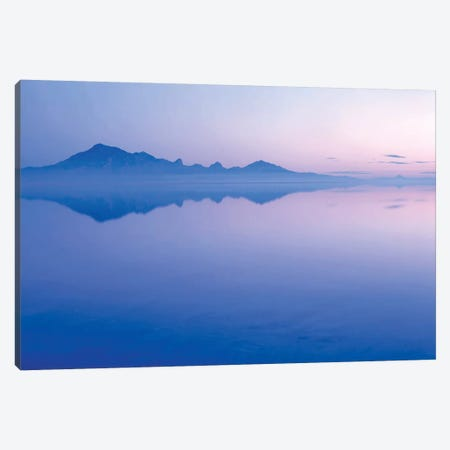 Silver Island Range And Its Reflection At Dawn, Bonneville Salt Flats, Tooele County, Utah, USA Canvas Print #SST4} by Scott T. Smith Canvas Print