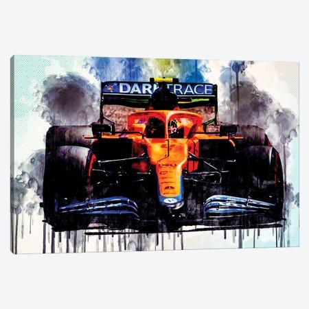 Lando Norris Raceway Mclaren Mcl35M On Track Formula 1 2021 F1 Cars Sportscars Canvas Print #SSY119} by Sissy Angelastro Canvas Print