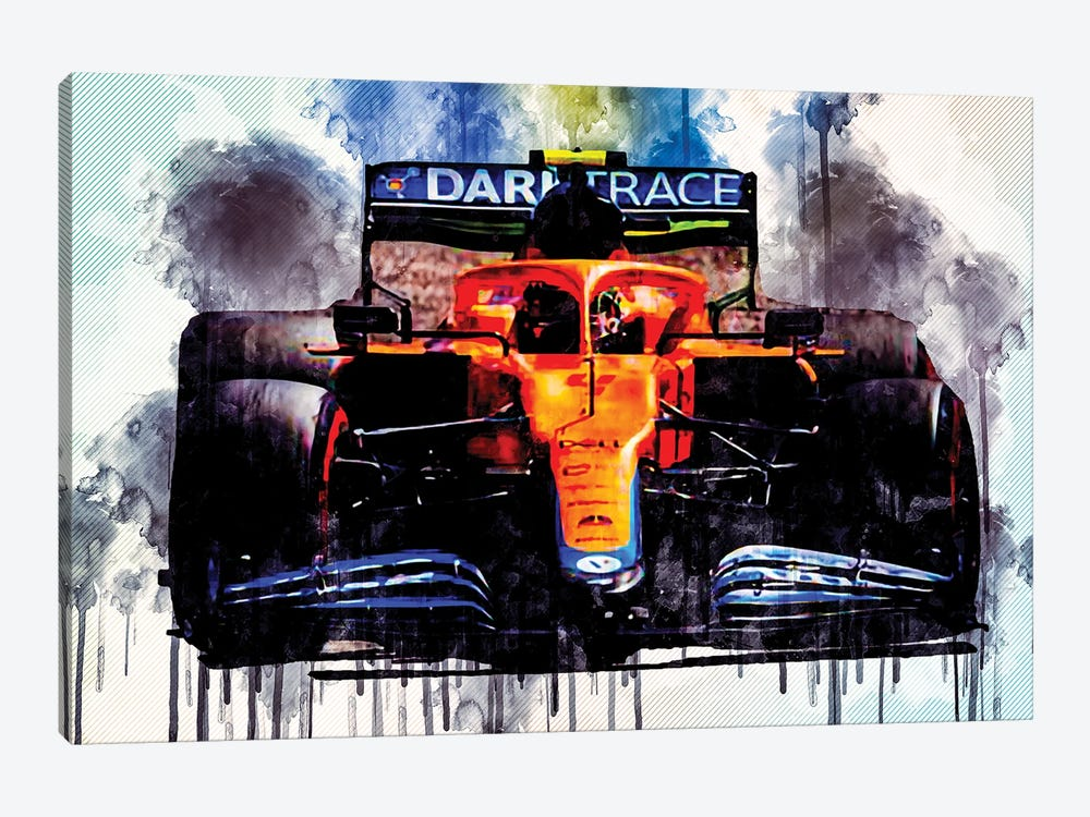 Lando Norris Raceway Mclaren Mcl35M On Track Formula 1 2021 F1 Cars Sportscars by Sissy Angelastro 1-piece Art Print