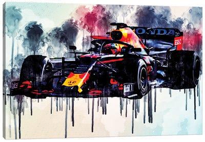 Max Verstappen Red Bull Racing Rb16B Raceway 2021 F1 Cars Formula 1 Rb16B On Track Red Bull Racing Honda Canvas Art Print