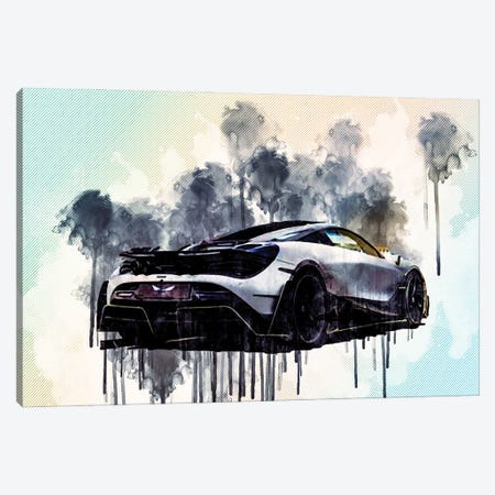 Mclaren 720S Mansory First Edition Hypercar Rear View Exterior Tuning 720S British Sports Cars Canvas Print #SSY129} by Sissy Angelastro Canvas Artwork