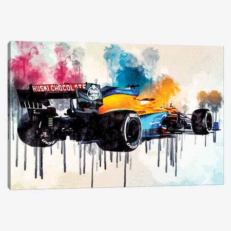 Mclaren Mcl35 Back View 2020 F1 Cars Studio Lando Norris Formula 1 Mclaren F1 Canvas Print #SSY133} by Sissy Angelastro Art Print