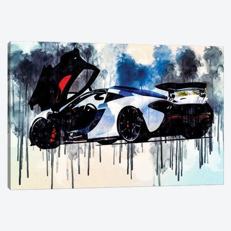 Mclaren P1 2020 Rear View Exterior White Supercar Hypercar British Sports Cars Canvas Print #SSY134} by Sissy Angelastro Canvas Wall Art