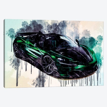 Topcar Mclaren 720S Spider Fury 2020 Hypercar Front View Green Roadster Tuning Canvas Print #SSY175} by Sissy Angelastro Canvas Wall Art
