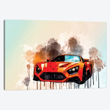 Zenvo St1 2017 Orange Sports Coupe Hypercar Sportcar Monaco Canvas Print #SSY192} by Sissy Angelastro Canvas Art Print