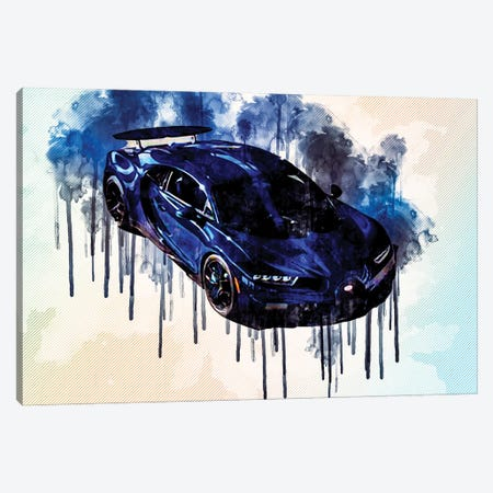 2021 Bugatti Chiron Pur Sport Blue Hypercar Exterior Canvas Print #SSY26} by Sissy Angelastro Canvas Art
