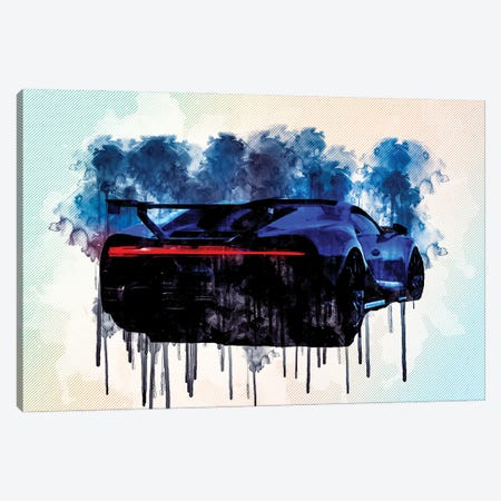 2021 Bugatti Chiron Pur Sport Ear View Exterior Hypercar Canvas Print #SSY28} by Sissy Angelastro Art Print