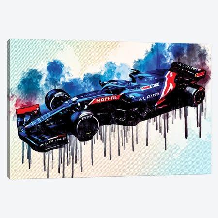 Alpine A521 F1 2021 Race Cars Formula 1 E-Tech 21 Alpine Canvas Print #SSY39} by Sissy Angelastro Canvas Artwork