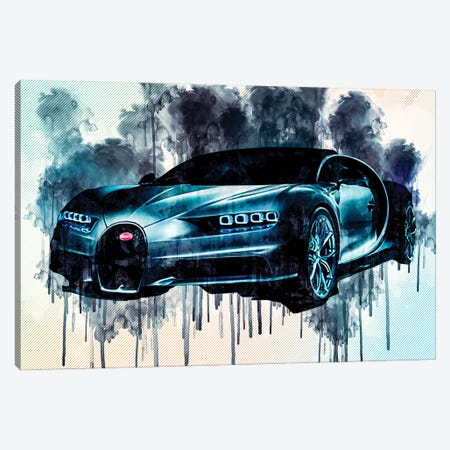 Bugatti Chiron 2018 Front View Supercar Hypercar Canvas Print #SSY68} by Sissy Angelastro Canvas Art Print