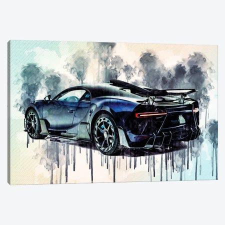 Bugatti Chiron Centuria Mansory Rear View Blue Hypercar Canvas Print #SSY70} by Sissy Angelastro Canvas Wall Art