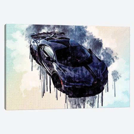 Bugatti Chiron Pur Sport 2021 Hypercar Front View Canvas Print #SSY72} by Sissy Angelastro Canvas Wall Art