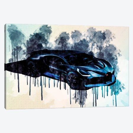 Bugatti Divo 2019 Luxury Racing Car Top View From The Front Canvas Print #SSY75} by Sissy Angelastro Art Print