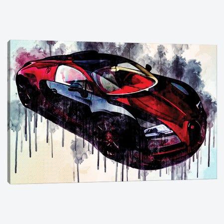 Bugatti Veyron Grand Sport Vitesse La Finale 2021 Hypercar Canvas Print #SSY78} by Sissy Angelastro Canvas Wall Art