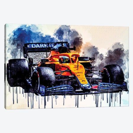 Daniel Ricciardo Mclaren Mcl35M On Track Raceway Formula 1 2021 F1 Cars Sportscars Canvas Print #SSY84} by Sissy Angelastro Canvas Wall Art