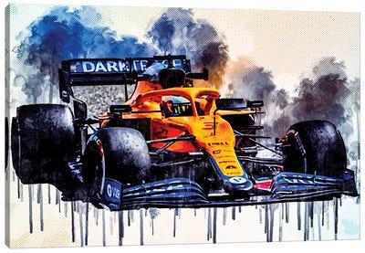 Daniel Ricciardo Mclaren Mcl35M On Track Raceway Formula 1 2021 F1 Cars Sportscars Canvas Art Print