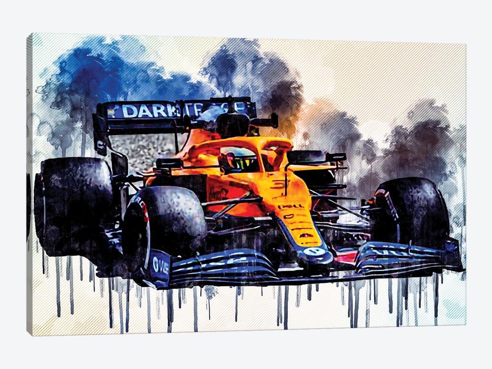 Daniel Ricciardo Mclaren Mcl35M On Track Raceway Formula 1 2021 F1 Cars Sportscars by Sissy Angelastro 1-piece Canvas Art Print