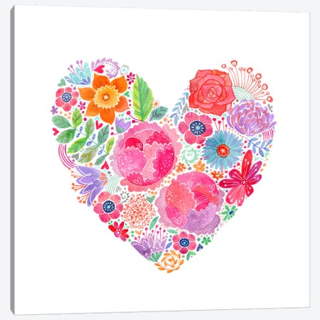 Floral Heart Canvas Print #STC107} by Stephanie Corfee Canvas Art