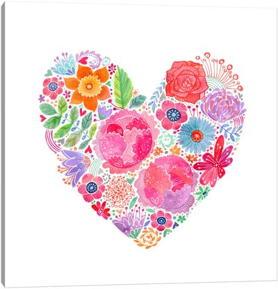 Floral Heart Canvas Art Print