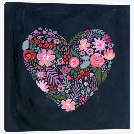 Floral Heart On Navy Canvas Print #STC108} by Stephanie Corfee Canvas Print