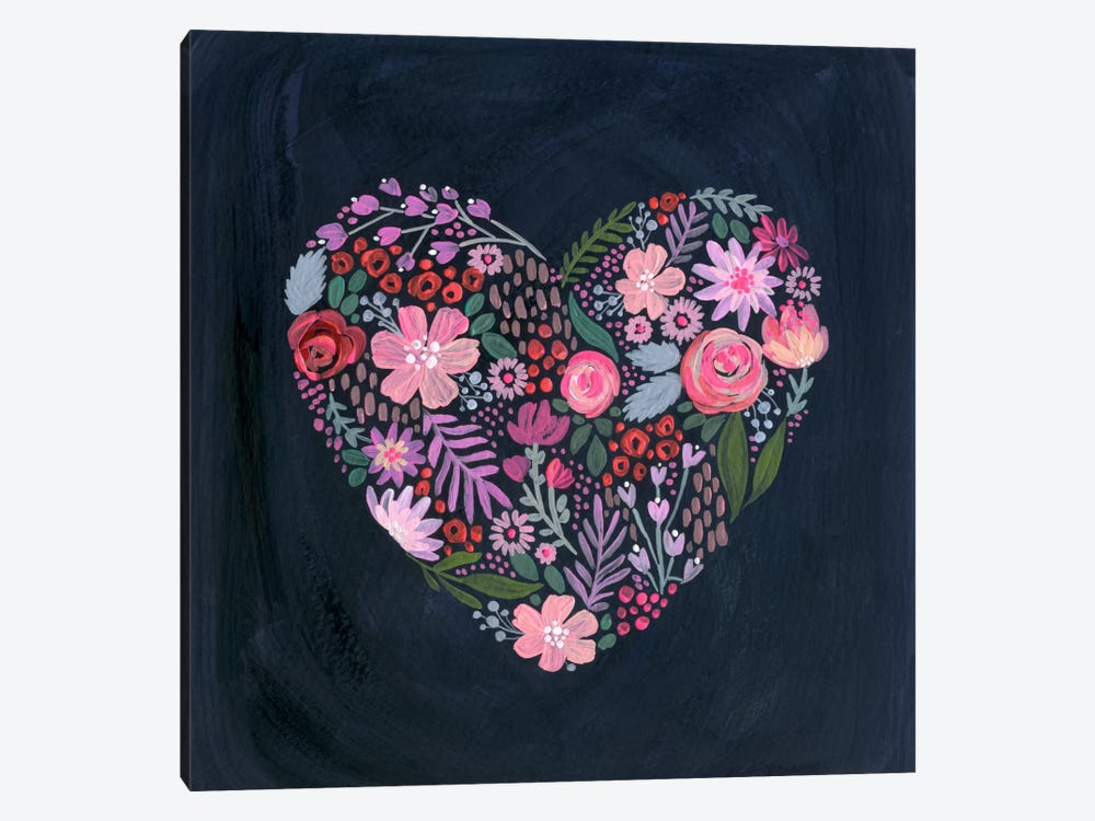 Floral Heart On Navy by Stephanie Corfee 1-piece Canvas Artwork