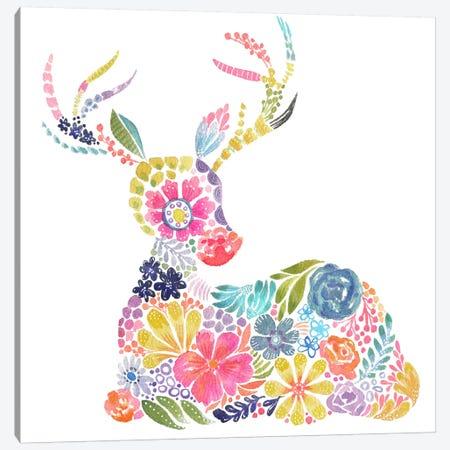 Floral Silhouette: Deer Canvas Print #STC110} by Stephanie Corfee Canvas Artwork