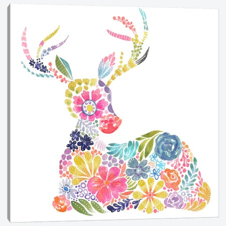 Floral Silhouette: Deer Canvas Print #STC110} by Stephanie Corfee Canvas Artwork