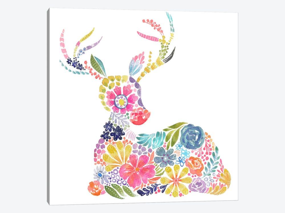 Floral Silhouette: Deer by Stephanie Corfee 1-piece Canvas Art Print
