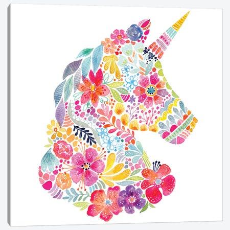 Floral Silhouette: Unicorn Canvas Print #STC111} by Stephanie Corfee Canvas Wall Art