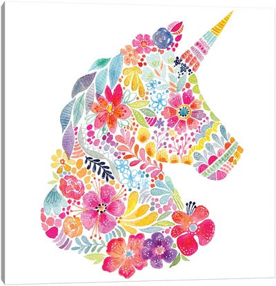 Floral Silhouette: Unicorn Canvas Art Print