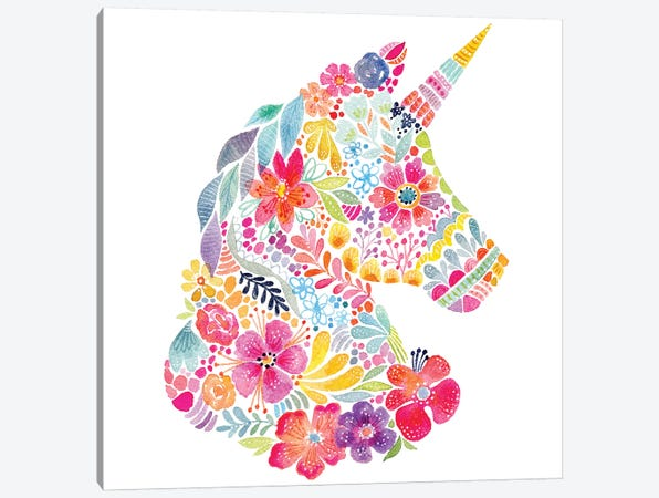 Floral Silhouette: Unicorn Canvas Print #STC111} by Stephanie Corfee Canvas Wall Art