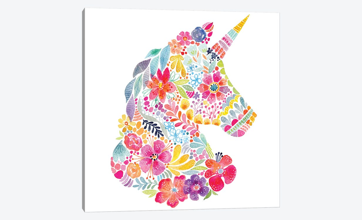 Floral Silhouette: Unicorn by Stephanie Corfee 1-piece Canvas Art