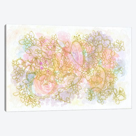 Golden Floating Flowers Canvas Print #STC120} by Stephanie Corfee Canvas Art Print
