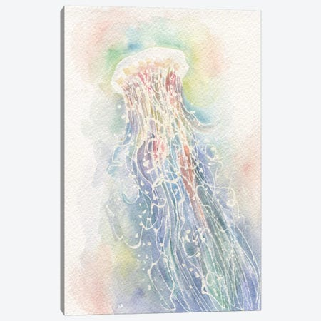 Jellyfish Watercolor Canvas Print #STC124} by Stephanie Corfee Canvas Wall Art