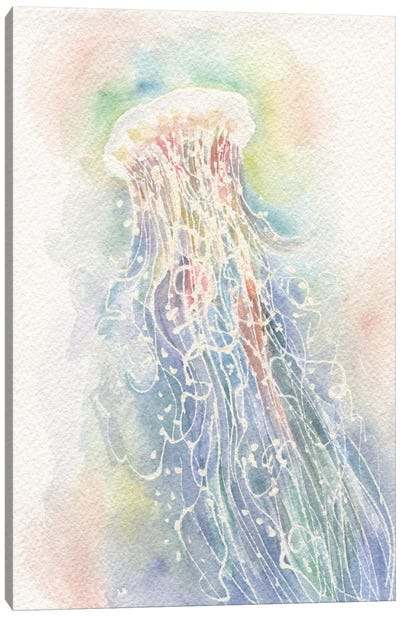 Jellyfish Watercolor Canvas Art Print