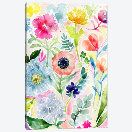 Loose Watercolor Flowers Canvas Print #STC125} by Stephanie Corfee Canvas Artwork