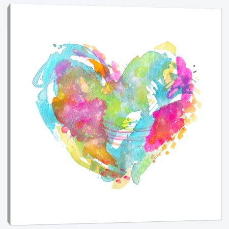 Messy Watercolor Heart, Cyan Canvas Print #STC131} by Stephanie Corfee Canvas Wall Art