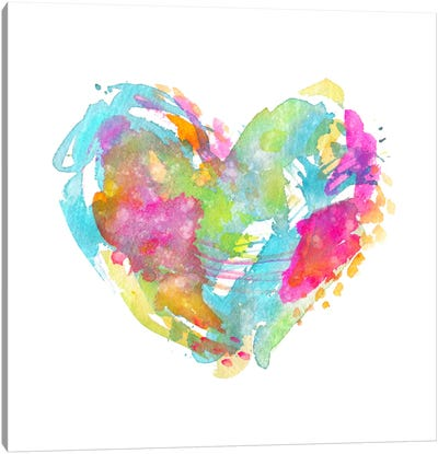 Messy Watercolor Heart, Cyan Canvas Art Print