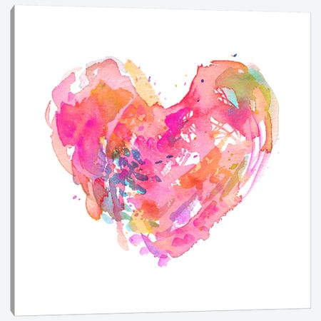 Messy Watercolor Heart, Fuchsia Canvas Print #STC132} by Stephanie Corfee Canvas Artwork