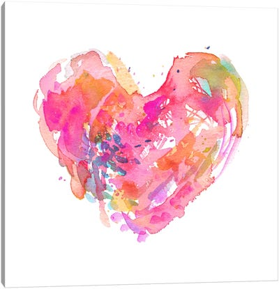 Messy Watercolor Heart, Fuchsia Canvas Art Print
