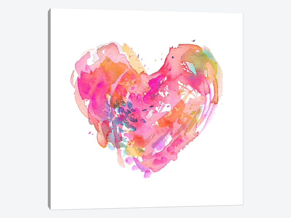 Messy Watercolor Heart, Fuchsia by Stephanie Corfee 1-piece Canvas Print