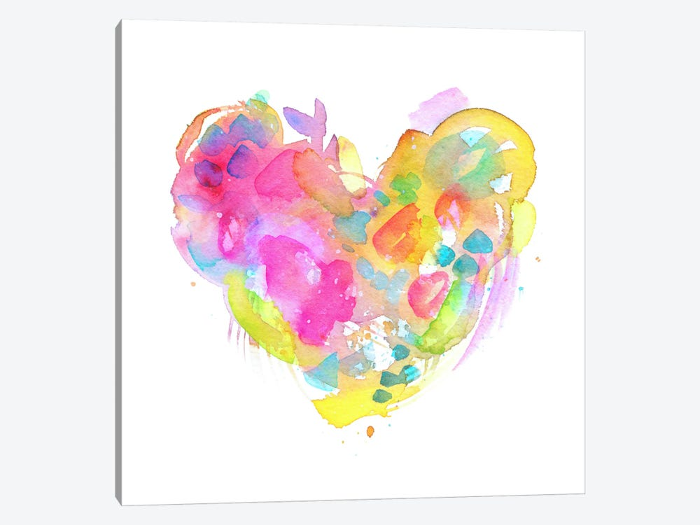 Messy Watercolor Heart, Yellow 1-piece Canvas Art