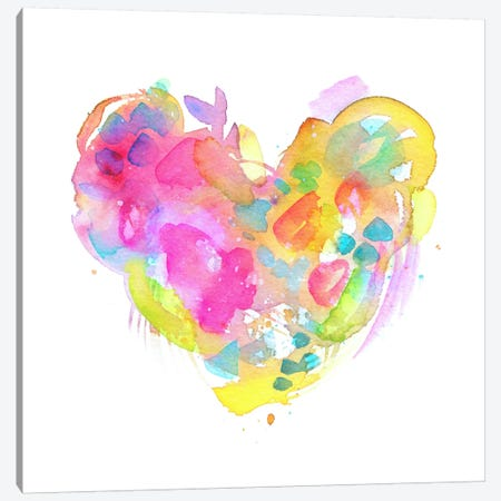 Messy Watercolor Heart, Yellow Canvas Print #STC133} by Stephanie Corfee Canvas Artwork