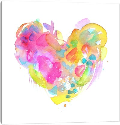 Messy Watercolor Heart, Yellow Canvas Art Print